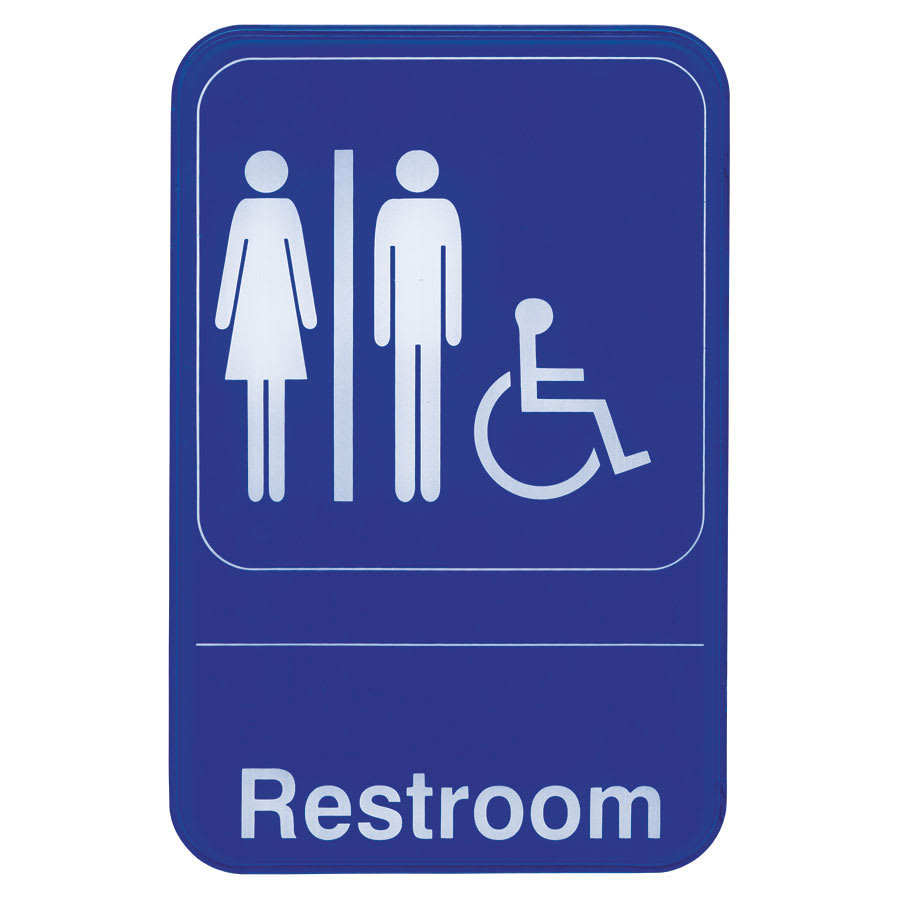 "Update S69-7BL Restroom/Accessible"" Sign - 6x9"" White on Blue"