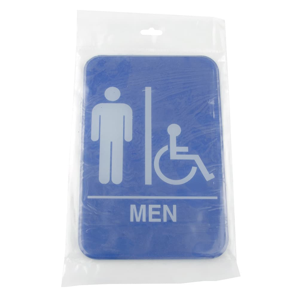 "Update S69-9BL Men/Accessible"" Sign - 6x9"" White on Blue"