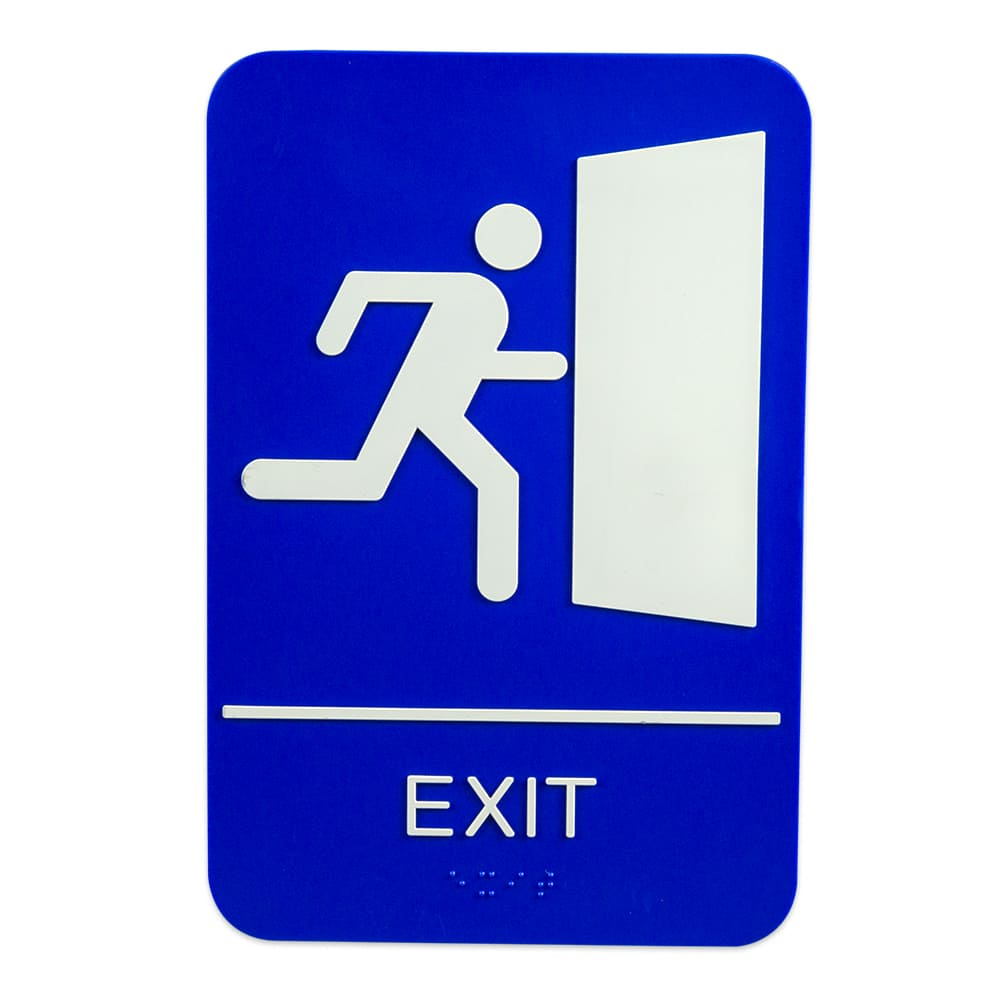 "Update S69B-10BL Exit Braille Sign - 6"" x 9"", White on Blue"
