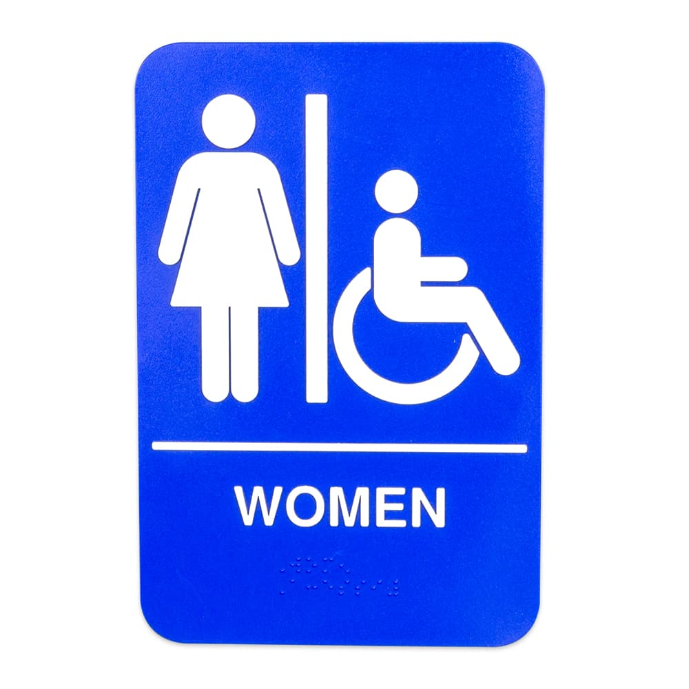 "Update S69B-1BL Women/Accessible"" Braille Sign - 6x9"" White on Blue"