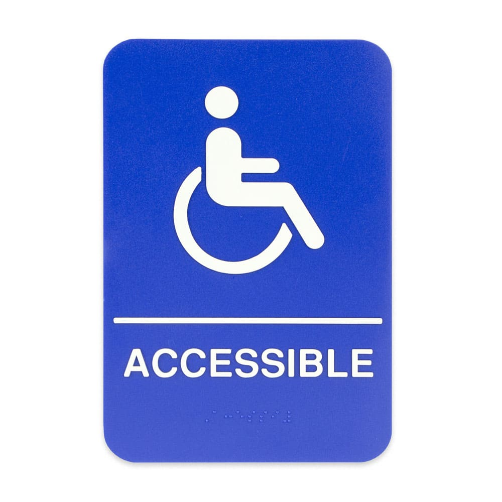 "Update S69B-3BL Accessible"" Braille Sign - 6x9"" White on Blue"