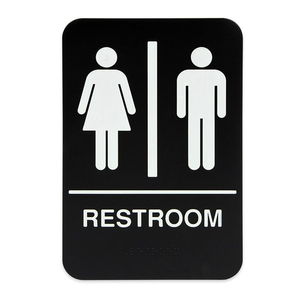 "Update S69B-4BK Restroom"" Braille Sign - 6x9"" White on Black"