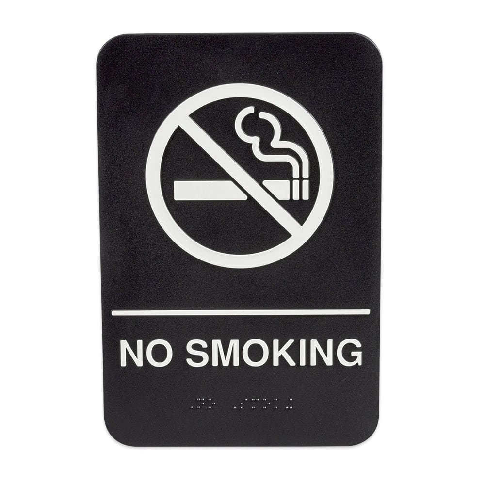 "Update S69B-9BK No Smoking"" Braille Sign - 6x9"" White on Black"
