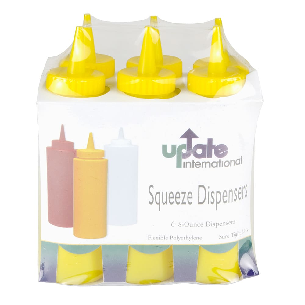 Update SBY-08 8 oz Squeeze Bottle - 6 Pack, Yellow