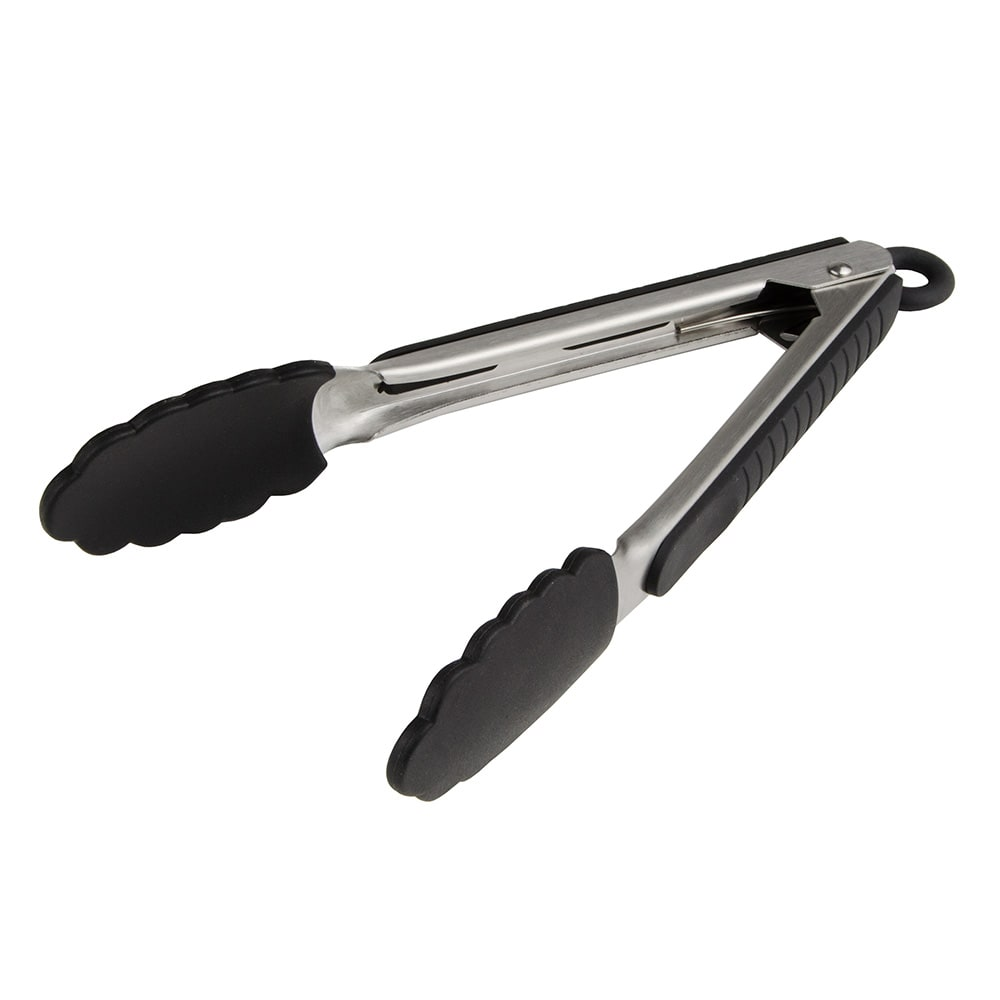 "Update STS-9HD 9"" Stainless Steel Locking Tongs w/ Black Silicone Tip and Grip"