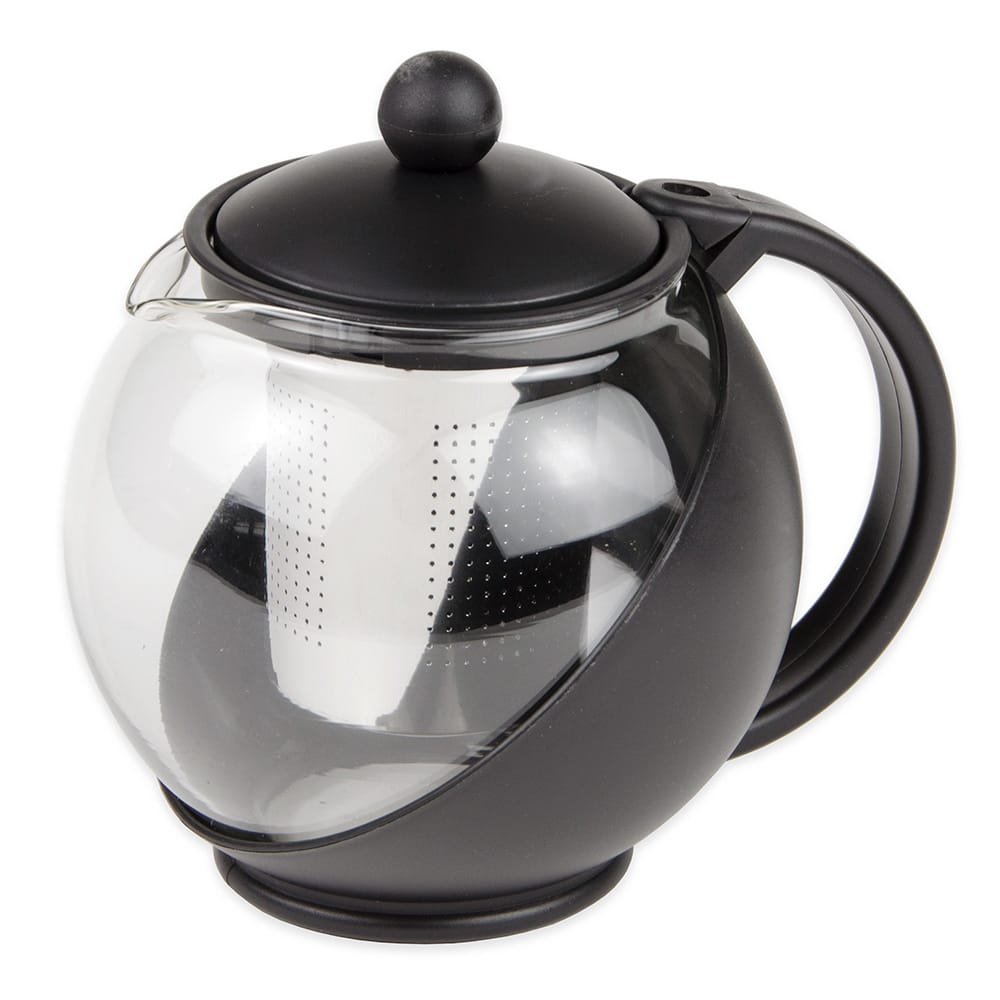 Update TPI-75 25 oz Teapot w/ Infuser - Glass/Plastic, Black