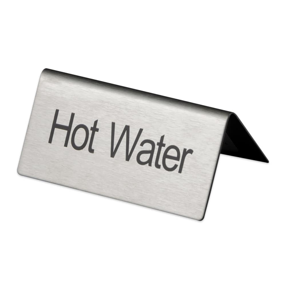 "Update TS-HWT ""Hot Water"" Table Tent Sign - 1.5"" x 3"", Stainless"