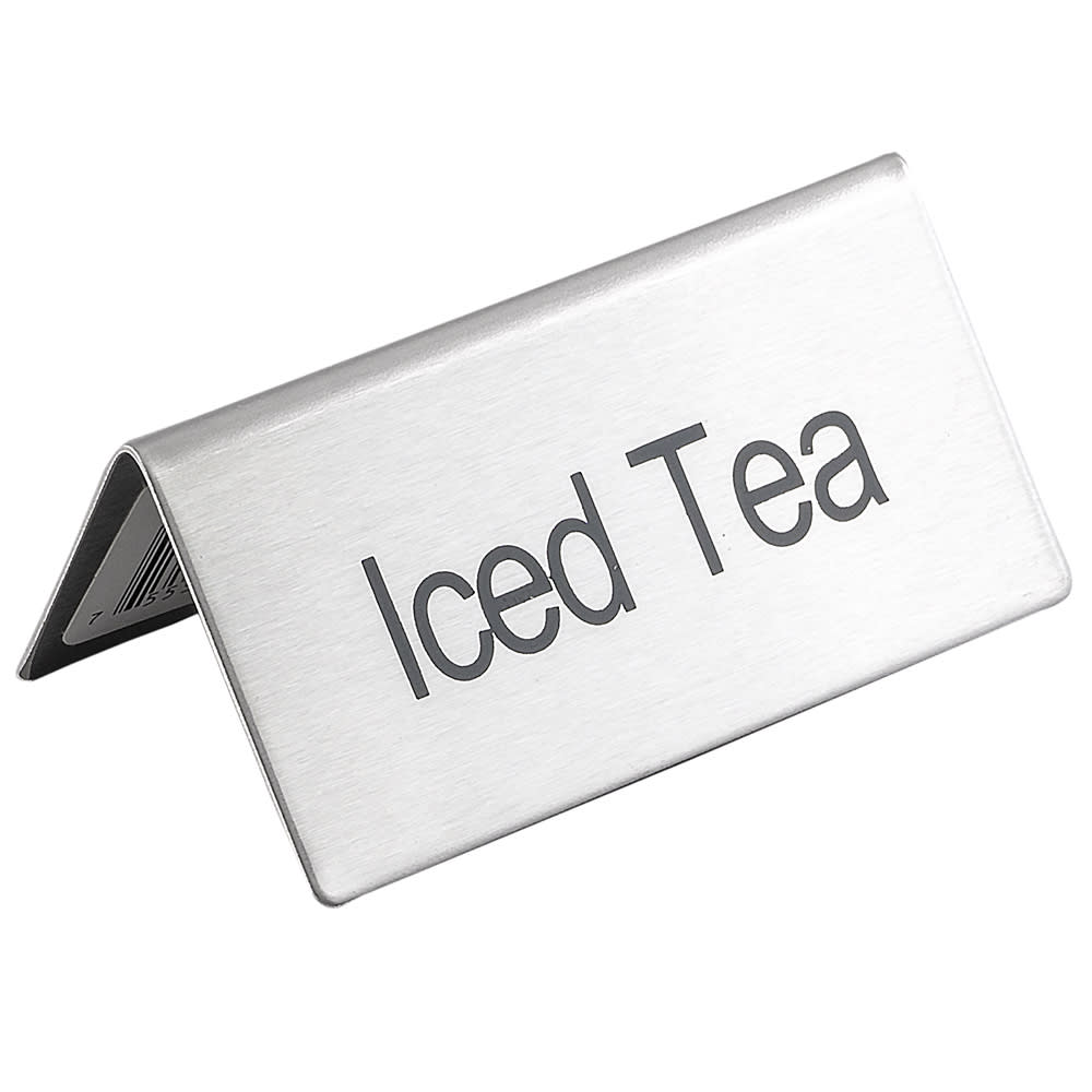 "Update TS-ITE ""Iced Tea"" Table Tent Sign - 1.5"" x 3"", Stainless"