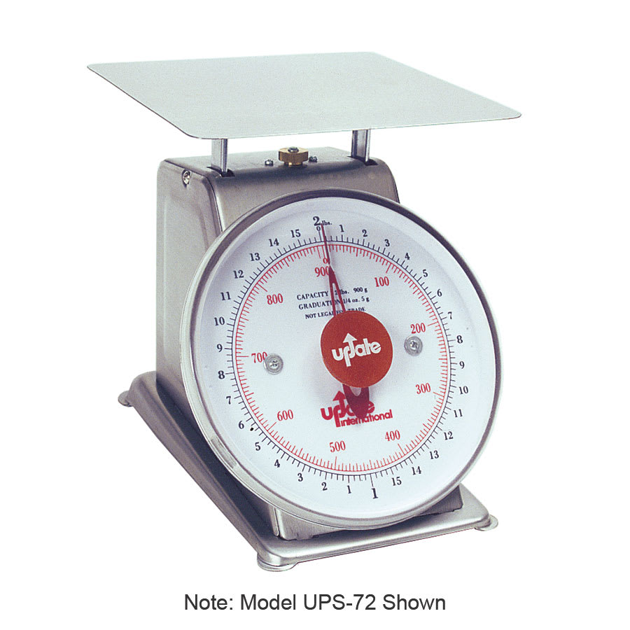 "Update UPS-75 7"" Fixed Dial Scale - 5 lb Capacity, 1/2 oz Graduations, Stainless"