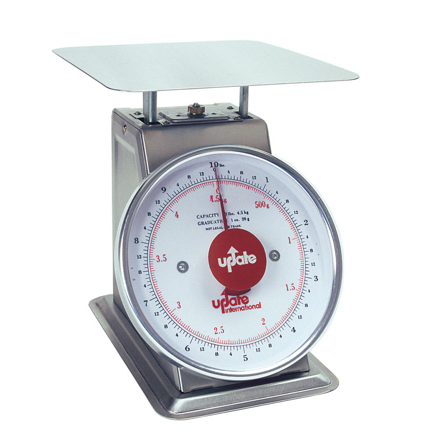 """Update UPS-810 8"""" Fixed Dial Scale - 10-lb Capacity, 1-oz Graduations, Stainless"""