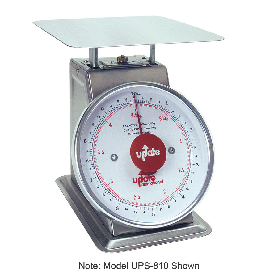 """Update UPS-840 8"""" Fixed Dial Scale - 40-lb Capacity, 2-oz Graduations, Stainless"""