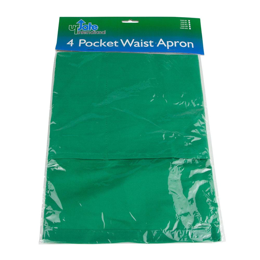 """Update WAP-GR 4-Pocket Waist Apron - 23x12"""" Poly/Cotton, Green"""