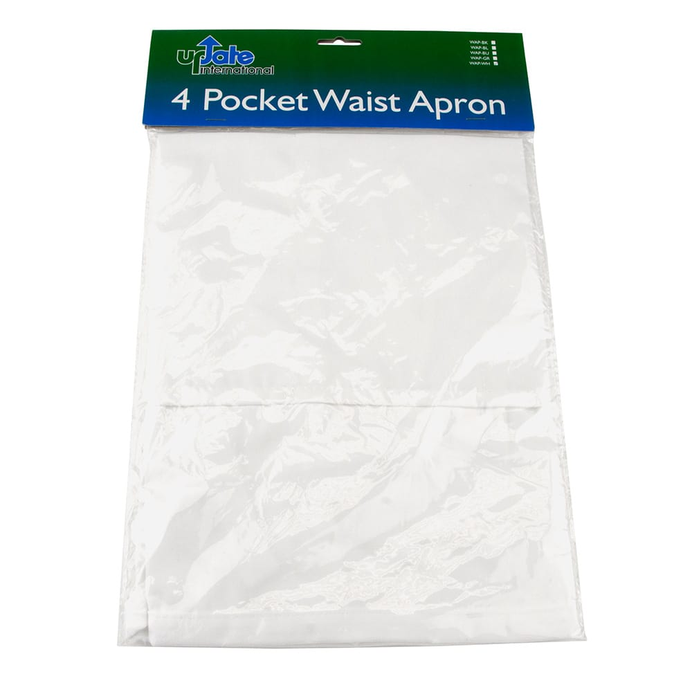 "Update WAP-WH 4-Pocket Waist Apron - 23x12"" Poly/Cotton, White"