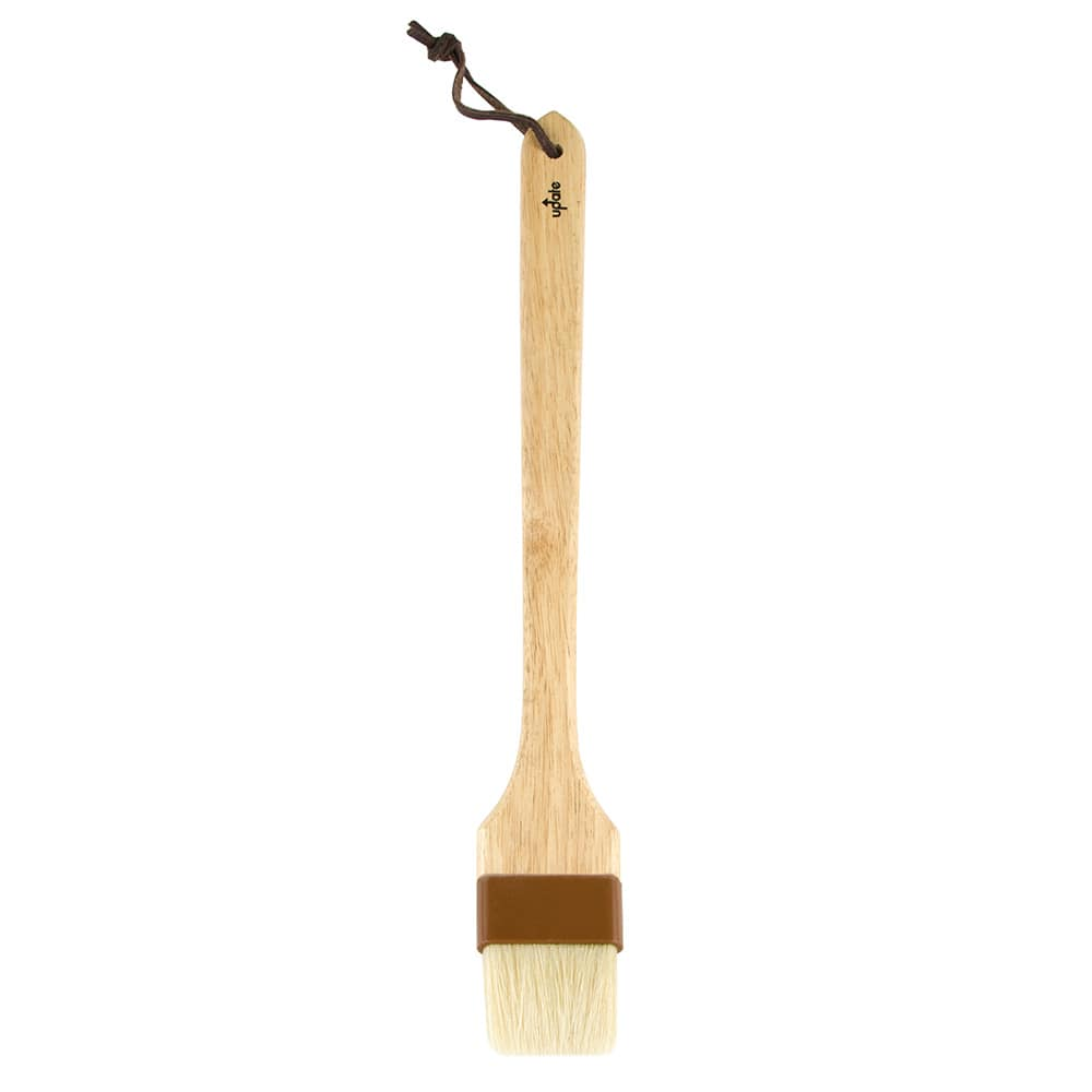 "Update WPBB-20/12 2"" Flat Angled Pastry Brush - Boar Bristles, Brown Plastic Ferrule, Wood Handle"