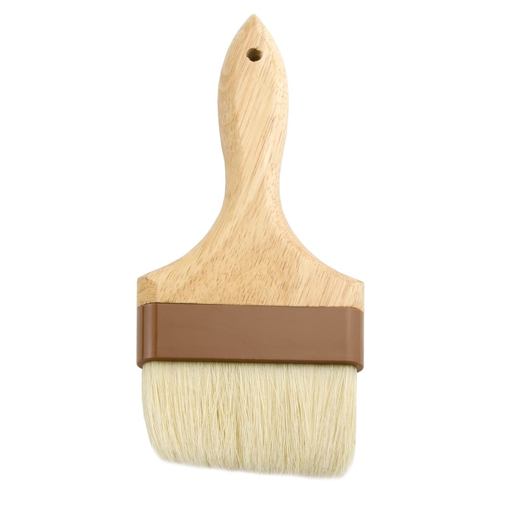 """Update WPBB-40 4"""" Flat Pastry Brush - Boar Bristles, Brown Plastic Ferrule, Wood Handle"""