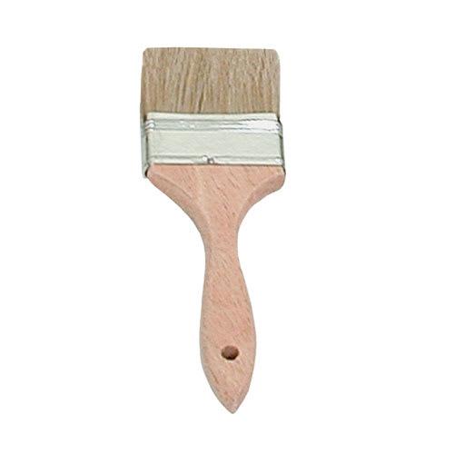 """Update WPBM-25 2-1/2"""" Flat Pastry Brush - Boar Bristles, Metal Ferrule, Wood Handle"""
