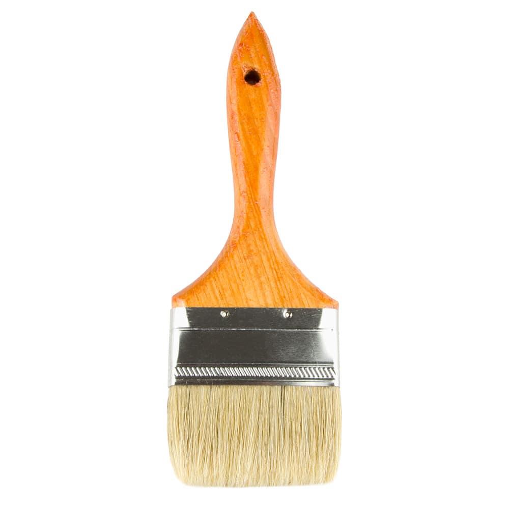 """Update WPBM-30 3"""" Flat Pastry Brush - Boar Bristles, Metal Ferrule, Wood Handle"""