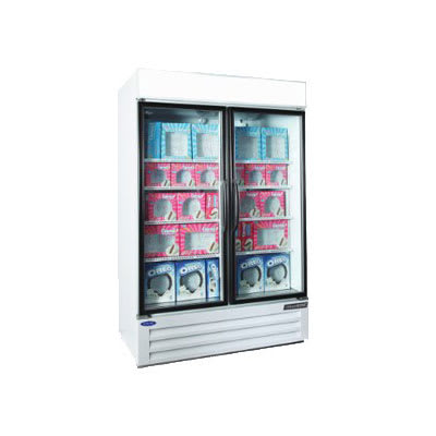 """Norlake NLGFP48-HG-W 52"""" Two-Section Display Freezer w/ Swinging Doors - Bottom Mount Compressor, White, 115v"""