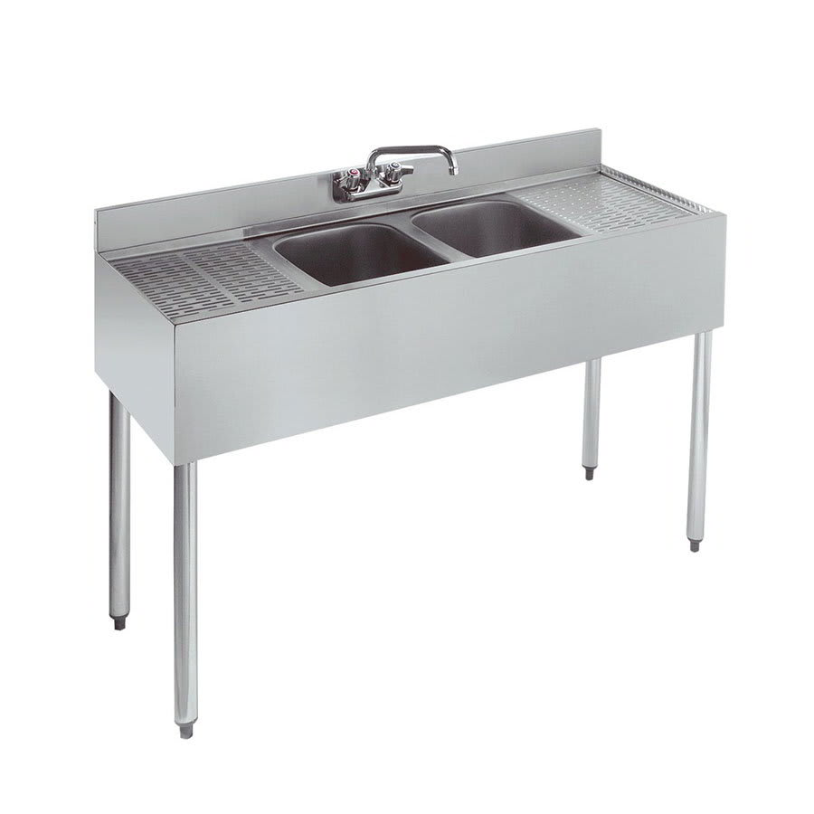 "Krowne 18-42C 48"" 2-Compartment Sink w/ 10""W x 14""L Bowl, 10"" Deep"