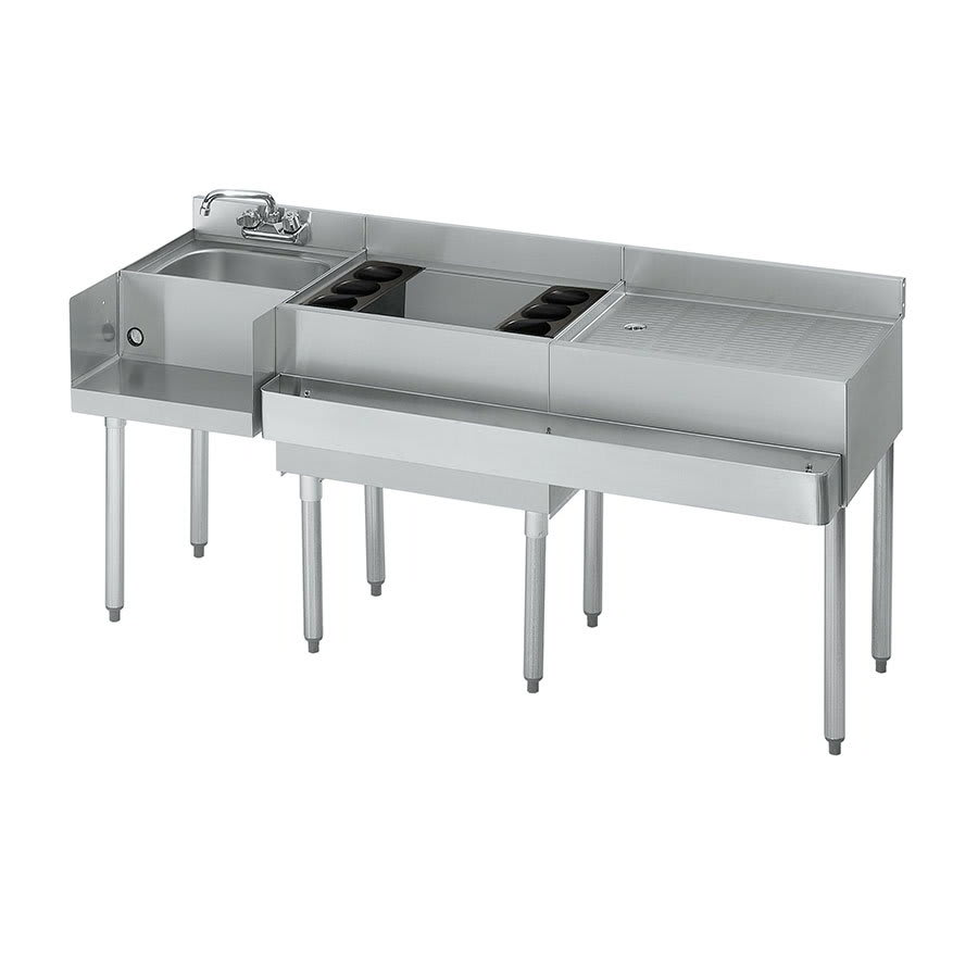 Krowne 18-W66L Left Blender/Cocktail/Right Drainboard Unit - 80-lb Ice Bin, 66x.22.5