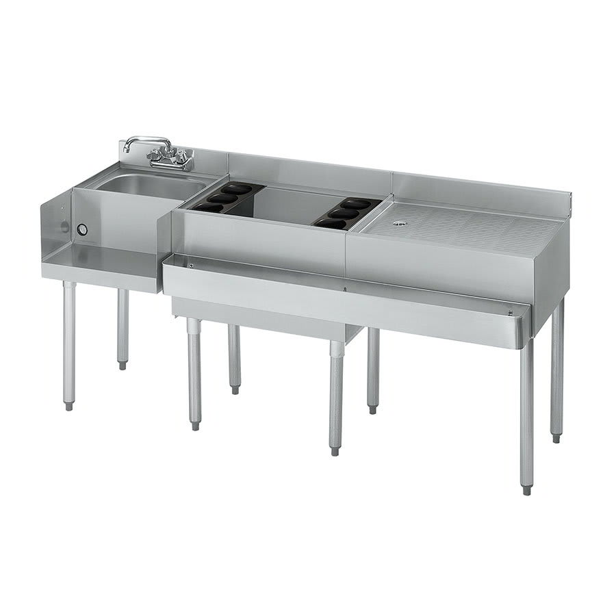 "Krowne 18-W66L-7 Left Blender/Cocktail/Right Drainboard Unit - 80 lb Ice Bin, 66x.22.5"", Cold Plate"