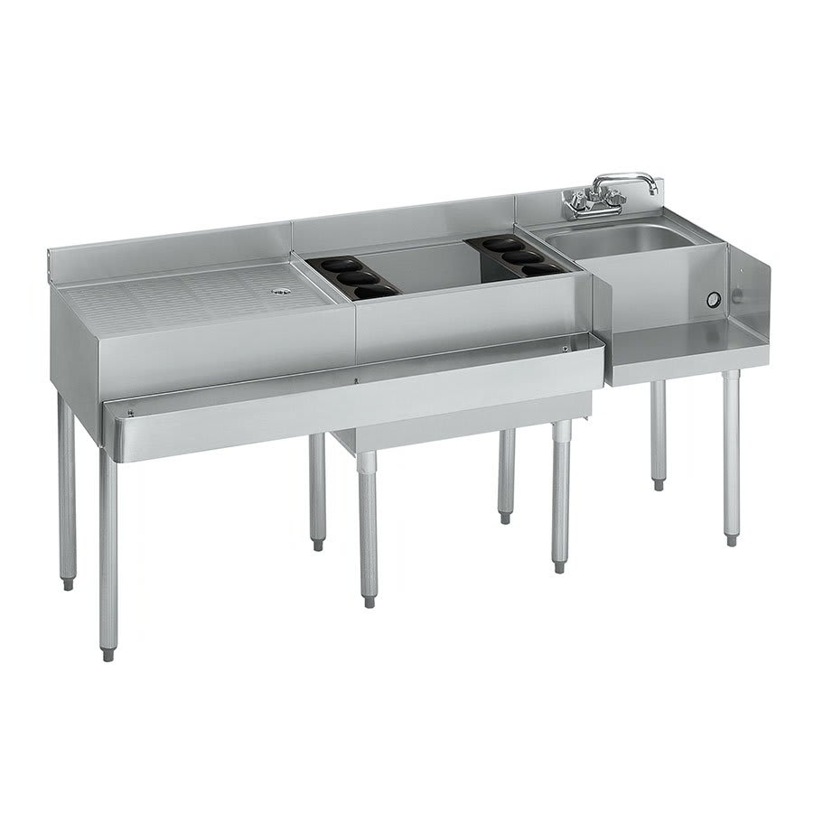 "Krowne 18-W66R-7 Right Blender/Cocktail/Left Drainboard Unit - 80 lb Ice Bin, 66x.22.5"", Cold Plate"