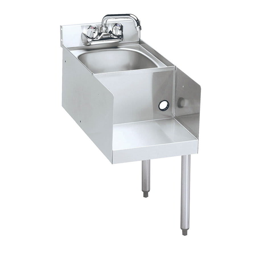 "Krowne 21-18BDR Blender/Liquid Dump Sink Add-On - 5"" Back Splash, Splash Mount, 18x25"", Right Legs"