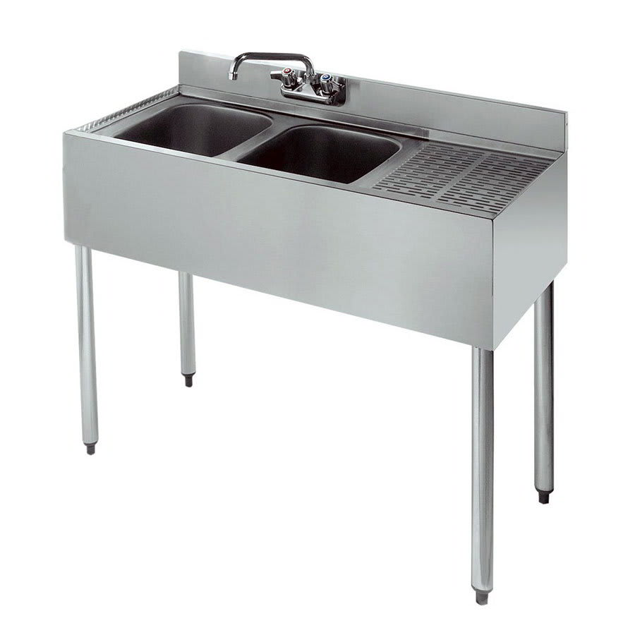 "Krowne 21-32L 36"" 2-Compartment Sink w/ 10""W x 14""L Bowl, 10"" Deep"
