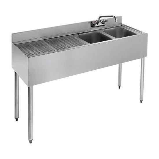 "Krowne 21-42R 48"" 2-Compartment Sink w/ 10""W x 14""L Bowl, 10"" Deep"