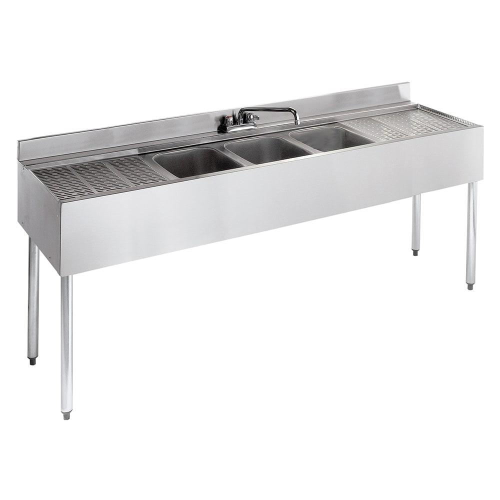 "Krowne 21-63C 72"" 3-Compartment Sink w/ 10""W x 14""L Bowl, 10"" Deep"