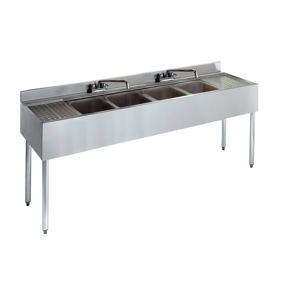 "Krowne 21-64C 72"" 4 Compartment Sink w/ 10""W x 14""L Bowl, 10"" Deep"