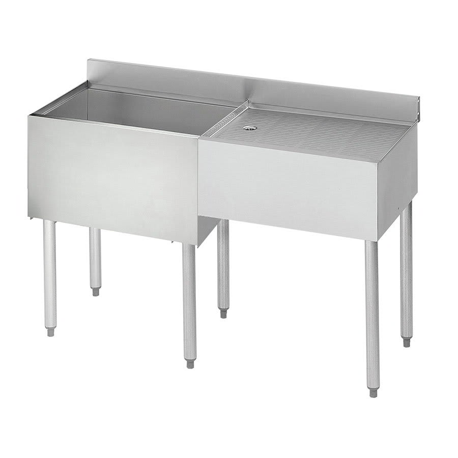 "Krowne 21-D48L-7 Left Ice Bin/Right Drainboard Unit - 80-lb Capacity, 48x21"", Cold Plate"