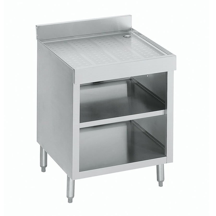 "Krowne 21-GSB3 Under Bar Glass Storage Cabinet - Open Front, 5"" Back Splash, 24x26"