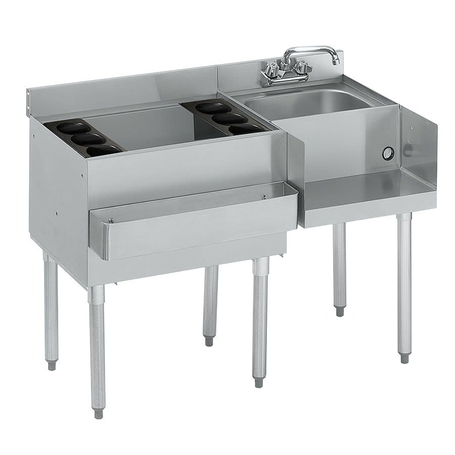 "Krowne 21-W48L-7 Left Ice Bin/Right Blender Unit - 80 lb Capacity, Dump Sink, 48x25"", Cold Plate"