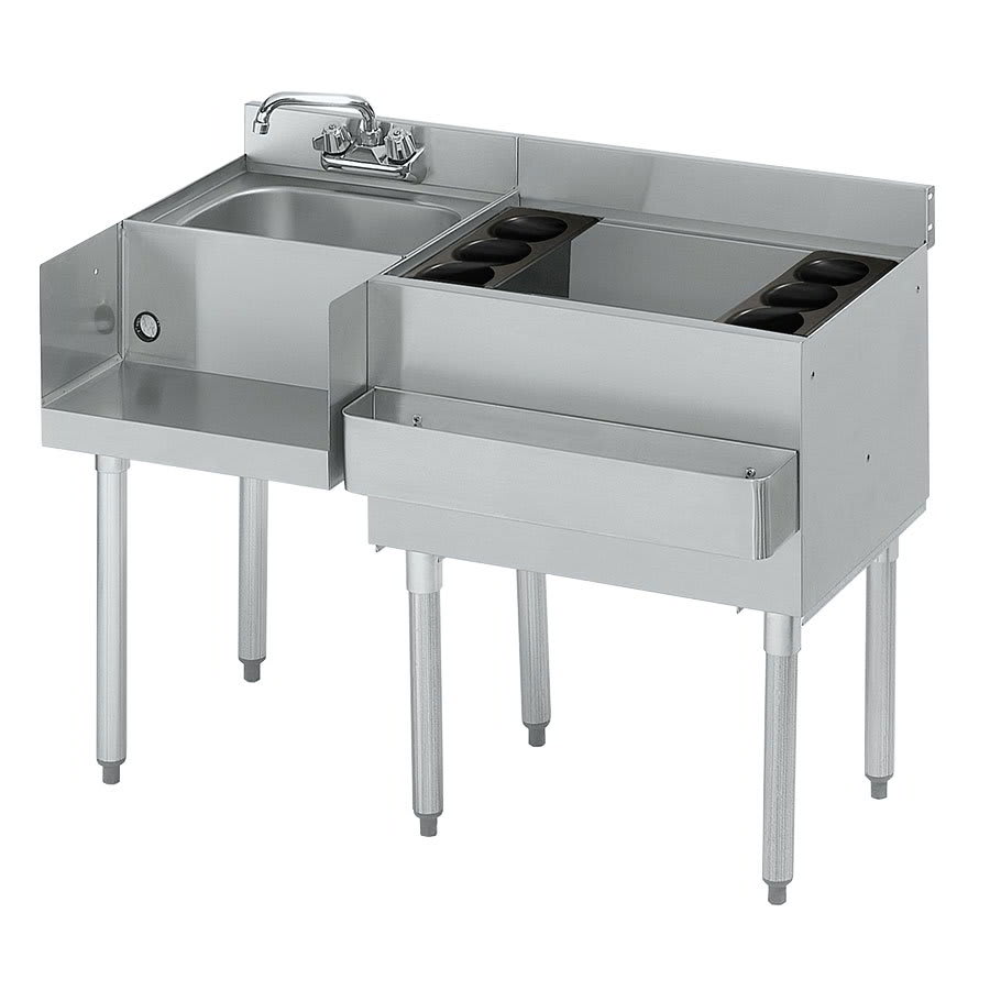 Krowne 21-W48R Right Ice Bin/Left Blender Unit - 80-lb Capacity, Dump Sink, 48x25
