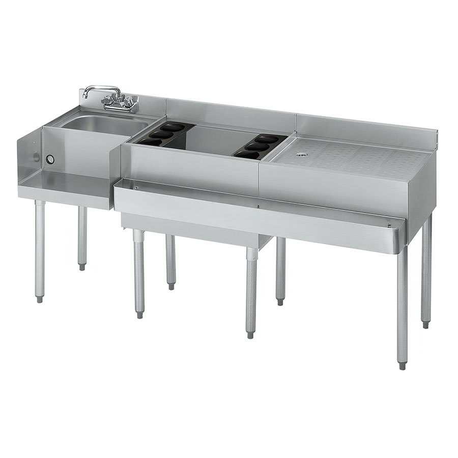 Krowne 21-W66L Left Blender/Cocktail/Right Drainboard Unit - 80-lb Ice Bin, 66x.25