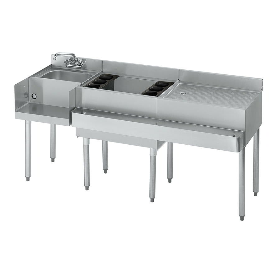 "Krowne 21-W66L-7 Left Blender/Cocktail/Right Drainboard Unit - 80 lb Ice Bin, 66x.25"", Cold Plate"