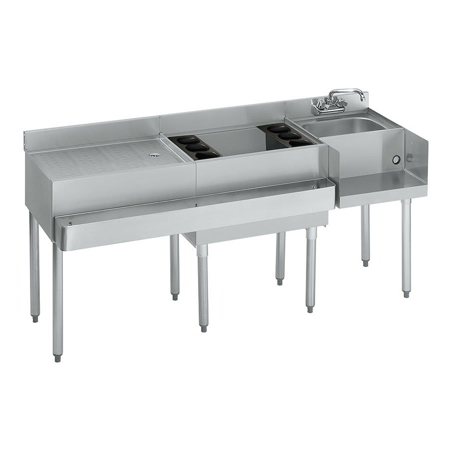 """Krowne 21-W66R-7 Right Blender/Cocktail/Left Drainboard Unit - 80-lb Ice Bin, 66x.25"""", Cold Plate"""