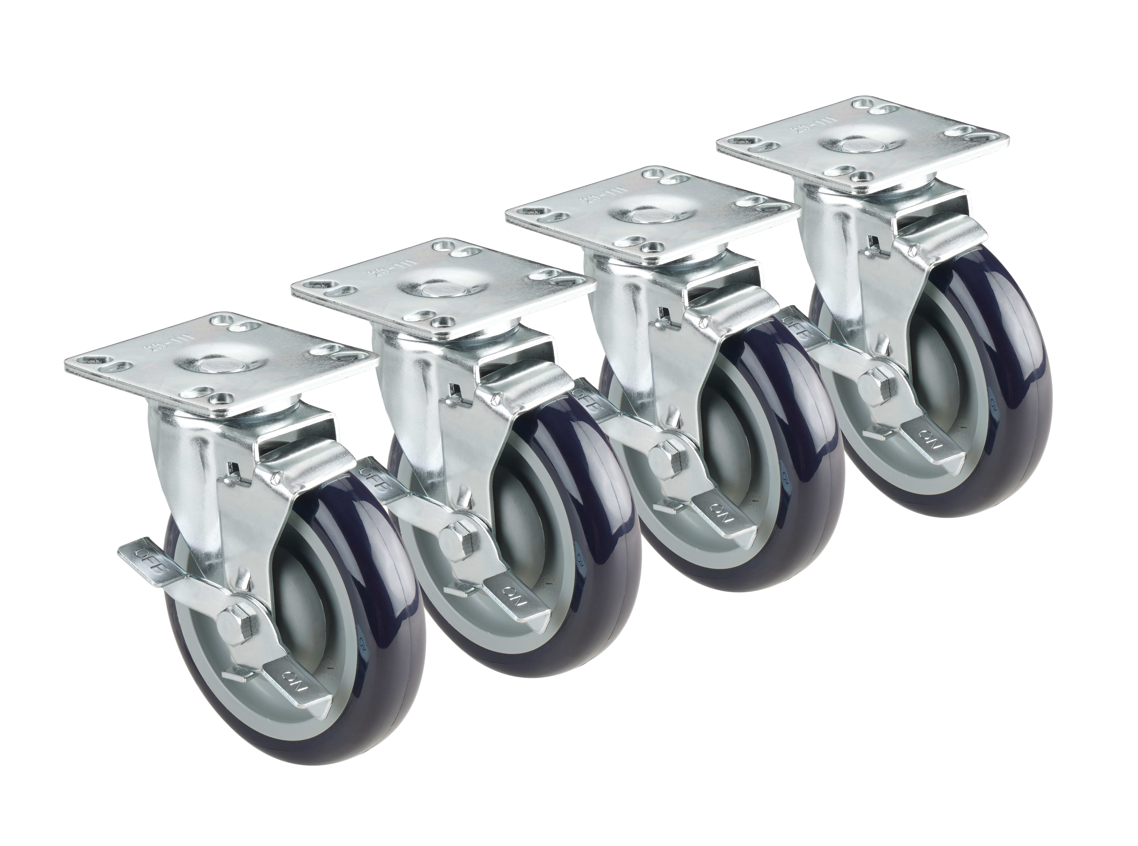 "Krowne 28-101S 4 Piece Universal Plate Caster Set w/ 3"" Wheel, 4 x 4"""
