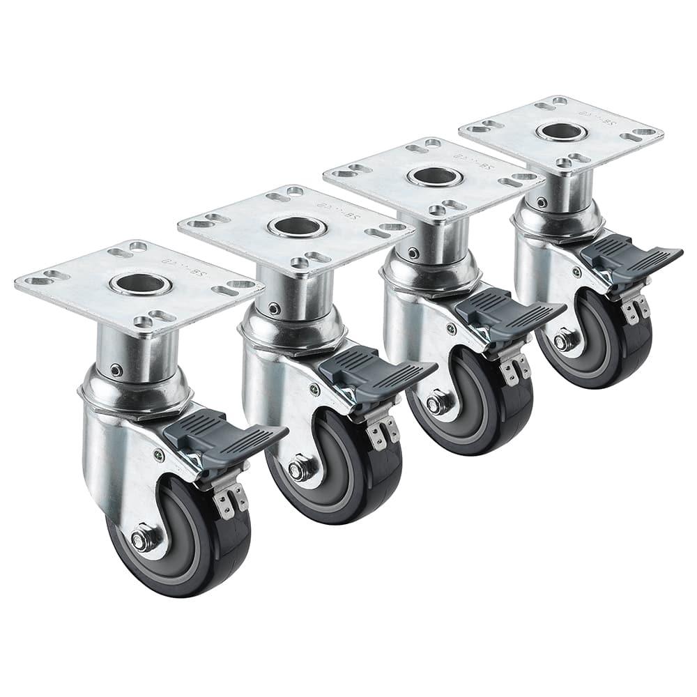 """Krowne 28-114S Adjustable Plate Caster w/ 3"""" Wheel"""