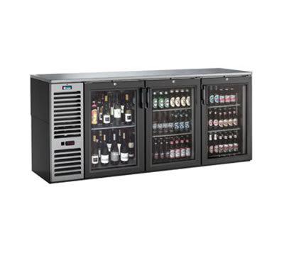 "Krowne BS84L-B-S-B-L-R-L 84"" (3) Section Bar Refrigerator - Swinging Solid Doors, 115v"