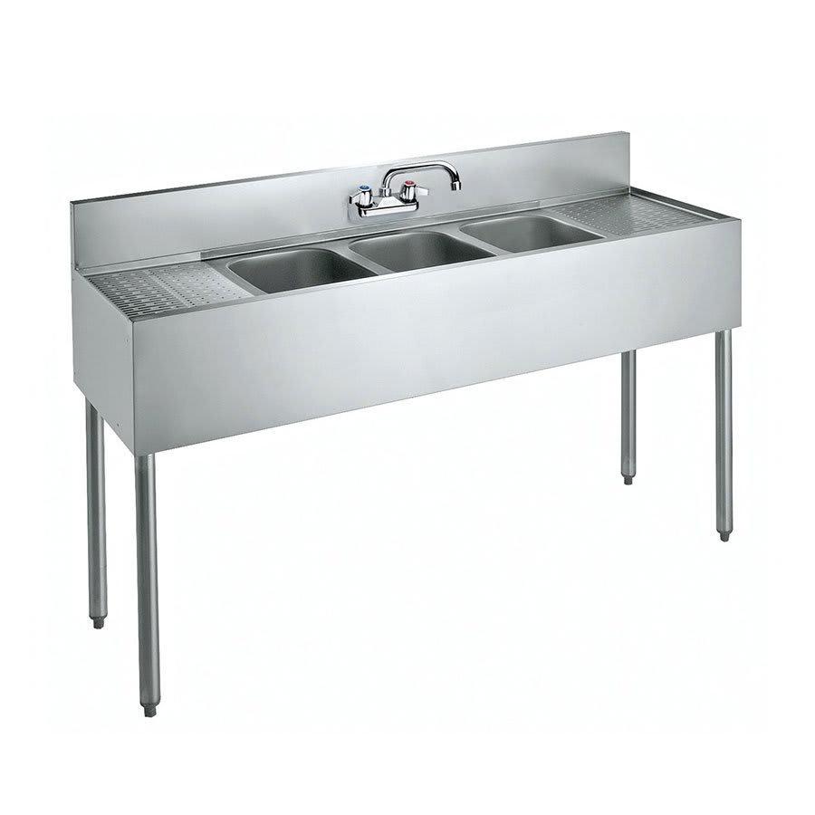 """Krowne CS-1860 60"""" 3 Compartment Sink w/ 10""""W x 14""""L Bowl, 10"""" Deep"""