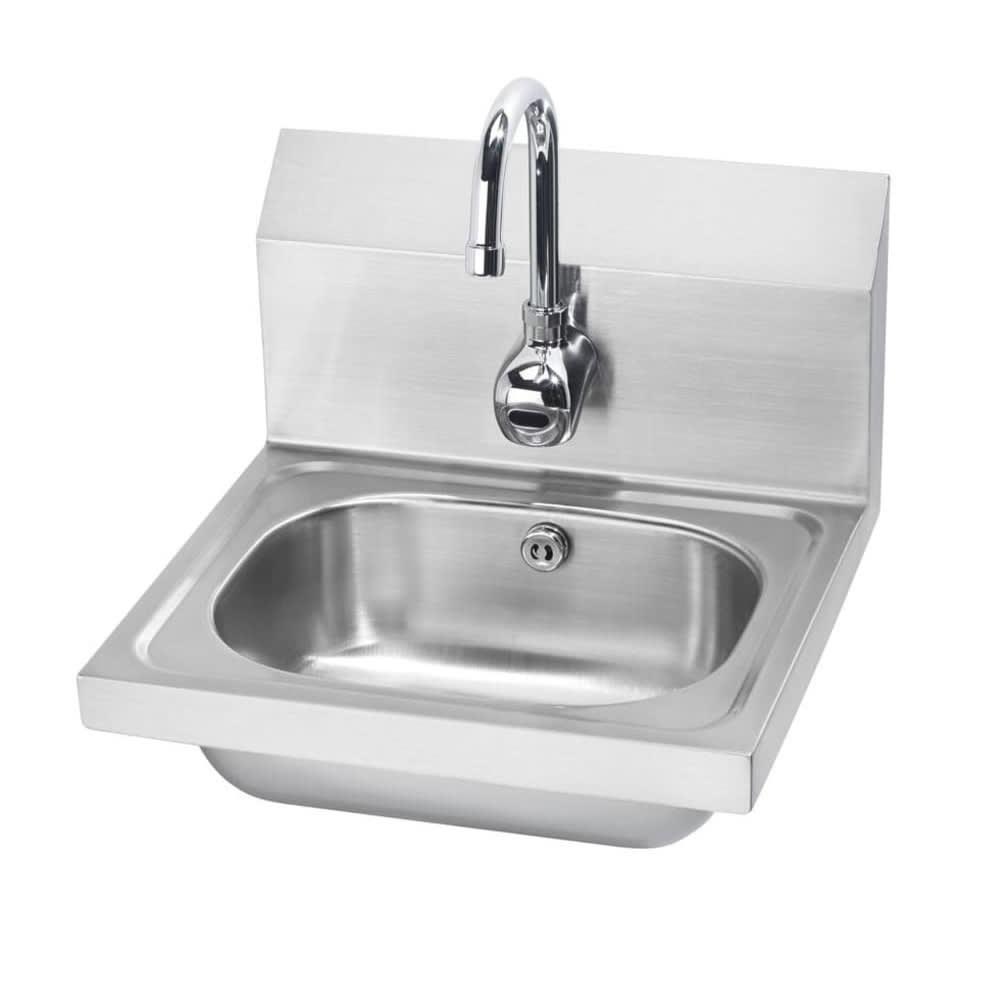 """Krowne HS-11 Wall Mount Commercial Hand Sink w/ 14""""L x 10""""W x 6""""D Bowl, Gooseneck Faucet"""