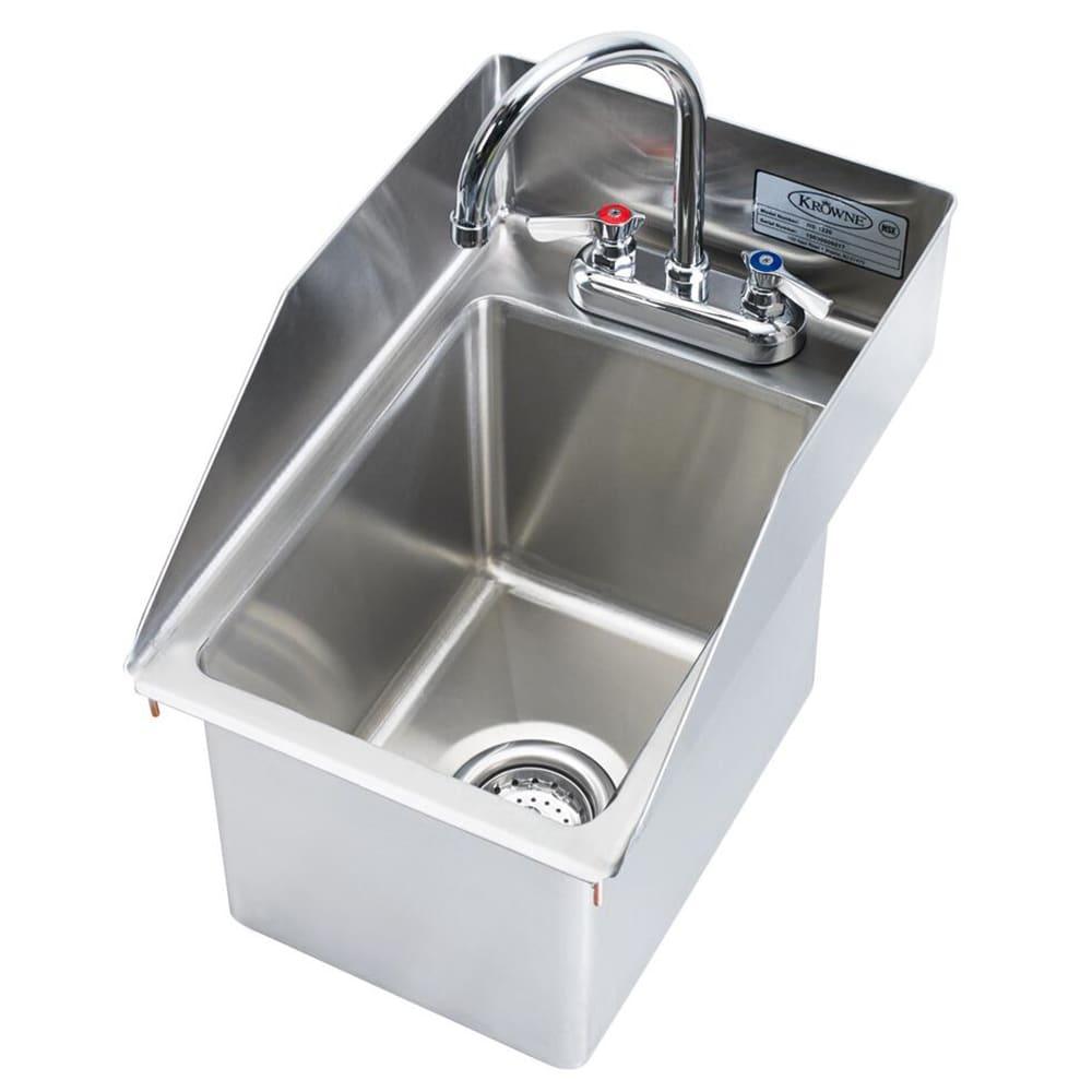 """Krowne HS-1220 Drop-In Commercial Hand Sink w/ 10.38""""L x 14""""W x 9""""D Bowl, Gooseneck Faucet"""