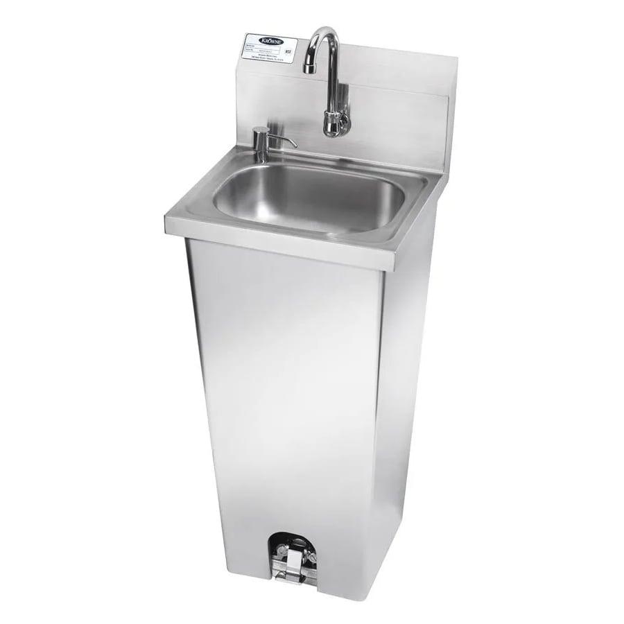 """Krowne HS-14 Pedestal Commercial Hand Sink w/ 14""""L x 10""""W x 5""""D Bowl, Pedal Valve"""