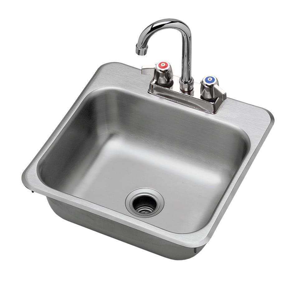 """Krowne HS1515 Drop-In Commercial Hand Sink w/ 12""""L x 10""""W x 5.18""""D Bowl, Gooseneck Faucet"""