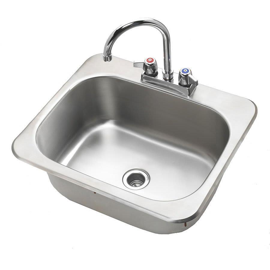 """Krowne HS-2017 Drop-In Commercial Hand Sink w/ 17.75""""L x 12.75""""W x 7.75""""D Bowl, Gooseneck Faucet"""