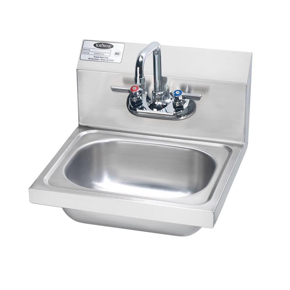 "Krowne HS-2L Wall Mount Commercial Hand Sink w/ 12.5""L x 9.75""W x 5.87""D Bowl, Low Lead"