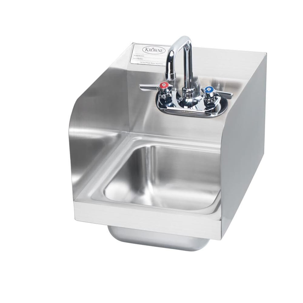 "Krowne HS-30L Wall Mount Commercial Hand Sink w/ 9.75""L x 11.75""W x 5""D Bowl, Side Splashes"