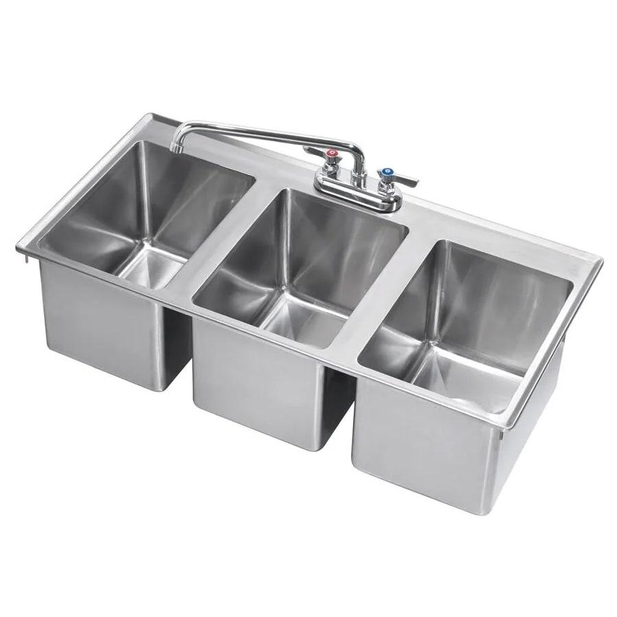 """Krowne HS-3819 Drop-In Commercial Hand Sink w/ (3) 10""""L x 14""""W x 10""""D Bowls, Gooseneck Faucet"""